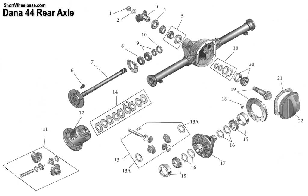 Dana 44 Front Axle Exploded View on chevy 10 bolt axle diagram